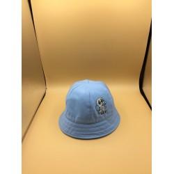 Chapéu azul redondo com laço