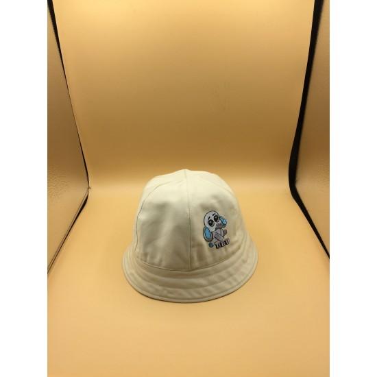 Chapéu beige redondo com laço